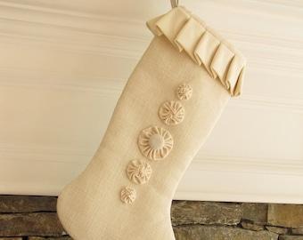 Burlap Christmas Stocking Large Winter White  - Five Rosettes