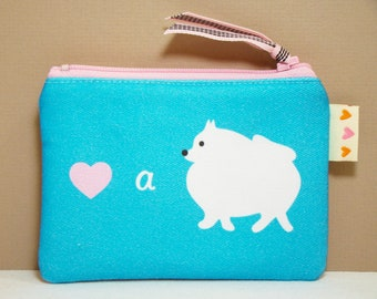 Pomeranian Dog Coin Purse Pouch - Love a Pomeranian - Cute Dog Purse Teal Pink Womens Accessory