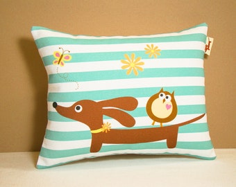 Dachshund Dog Pillow - Doxie and Owl Daisy Aqua Stripe - Modern Dog Home Decor Green White
