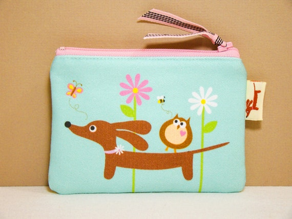 Doxie Wiener Dog Coin Purse - Doxie and Owl in the Aqua Daisy Garden - Womens Purse