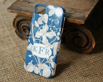 iPhone 7 Case Monogrammed iPhone 6S Case, Botanical English Garden Cell Phone Case, iPhone SE, iPhone 7 Case, iPhone 7 Plus Case