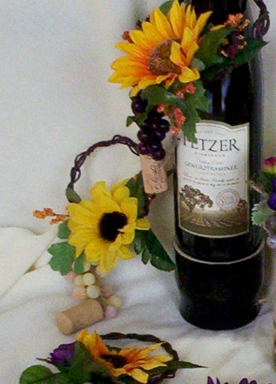 Sunflower bridal centerpieces wine bottle toppers amorebride