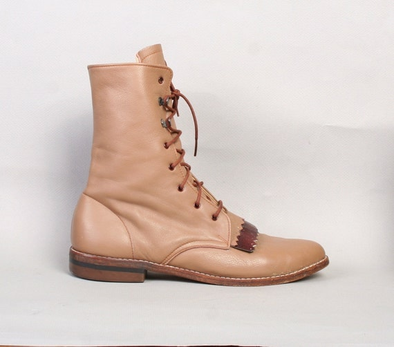 1980s ROPER BOOTS / 2-Tone Cocoa Brown & Burgundy Leather, 7-7.5