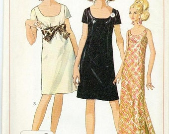 Mad Men Long or Short Evening Dress - Simplicity 7384 - Vintage Sewing Pattern, Size 10