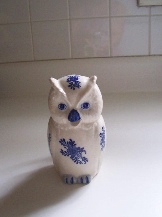 Owl Creamer Pitcher Blue and White China Owl