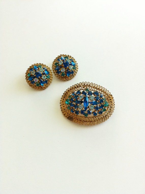 Vintage Austria Brooch and Earrings Jewelry Set