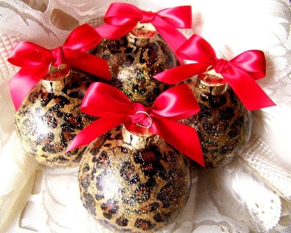 6 Leopard Christmas Ornaments,  Christmas Tree Decorations, Safari, Cheetah, You Pick Bow Color