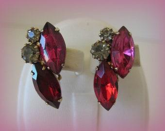 Glitzy Hot Pink Rhinestone Earrings 1950s Vintage
