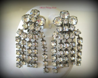 Glitzy Rhinestone Dangle Earrings 1950s Vintage Jewelry