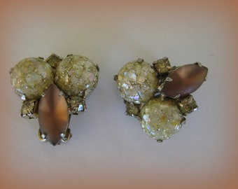 Vintage Topaz Marquise and Confetti Lucite Cabochons Earrings Autumn Is in The Air
