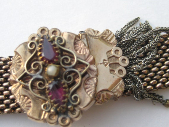 Antique Victorian Bracelet Garter Style Slide Gold Genuine Amethyst and Seed Pearl with Filigree