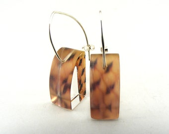 Boho Chic Bird Feather Pattern Earrings, Handmade Dangle Perspex Earrings