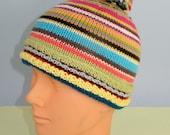 Instant Digital File pdf download knitting pattern - Baby Random Stripe Bobble Beanie Hat knitting pattern pdf download