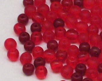 125 Assorted Red 4mm Round Czech Glass Beads // Valentine's Day Crafts