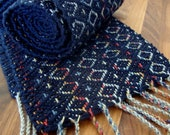 Handwoven Navy Scarf (with a hint of rainbow)