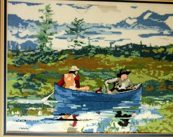Cross stitch  adaption of Winslow Homer's The Blue Boat watercolor painting