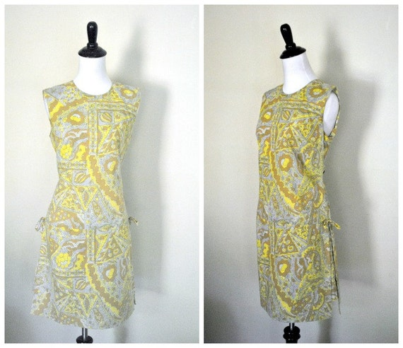 1960s Scooter Dress/ Liberty Print Romper with Side Ties/ Size Medium to Large
