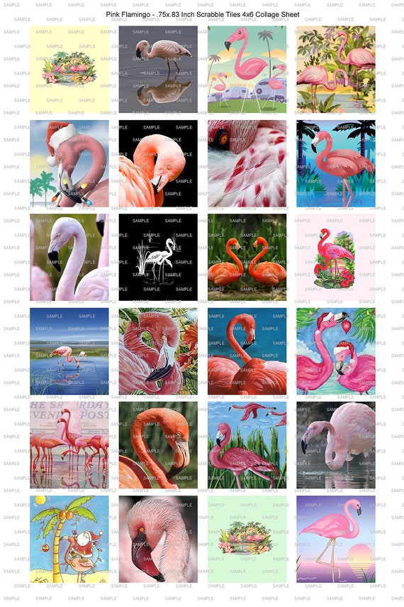 Pink Flamingo Lovers Collage Scrabble Tile Magnet Jewelry Craft Earrings 2 Digital Image Sheets