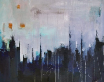 "Original Abstract Painting , Modern Cityscape LARGE 32x32"" UNSTRETCHED Rolled in a tube"