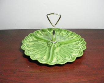 Maddux of Calif TIDBIT TRAY Serving  Mid Century Green Handled Divided Plate Hollywood Regency