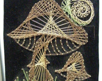 Vintage String Art Picture MUSHROOM & SNAIL Metallic Thread 70s Toadstool Medium on Black Velvet