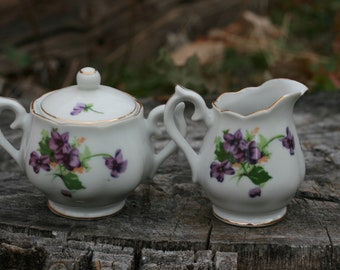 Norecrest China Sweet Violets Toy Sugar And Cream Set