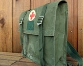 Vintage Military Red Cross Medic Waterproof Messenger Bag