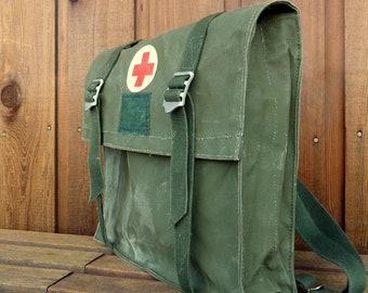 Vintage Military Red Cross Medic Waterproof Messenger Bag