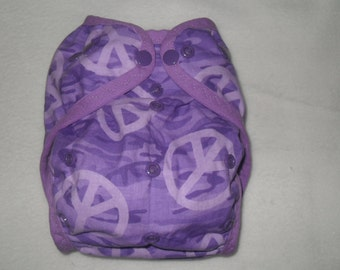 Purple Camo peace signs one size PUL diaper cover