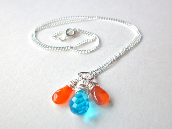 Wire Wrapped briolette necklace and earrings set with blue crystal and orange carnelian drop beads simple jewelry
