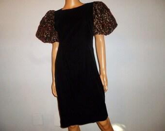 "Vintage 80's - Black Velvet - Embellished with Burgundy Velvet/Gold Metallic - Bell Sleeves - Holiday - Party - Cocktail - Dress - 35"" Bust"
