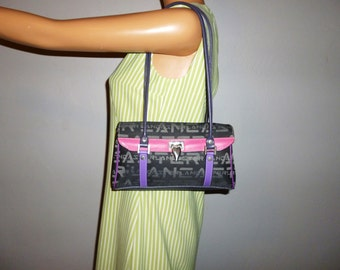 Vintage 90's - Lancaster - Made in France - Pink - Purple - Grey - Color Block - Leather - Jacquard  Bag - 10 x 6 x 2.5 (great condition)