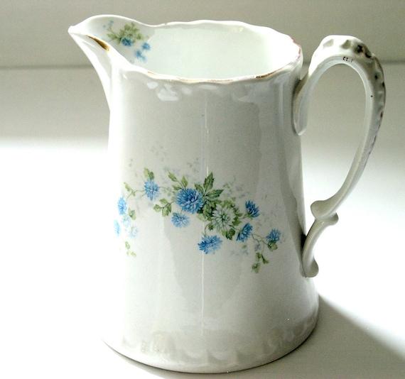Vintage White Porcelain Pitcher Painted Blue Flowers Gold Leafing