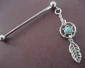 Industrial Barbell 14g 16g Earring, Dangle Industrial Barbell Upper Ear Piercing Turquoise Dream Catcher Feather Dreamcatcher Charm 16 14