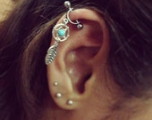 Helix Cartilage Bar Earring Ear Piercing 16g Dream Catcher Industrial Feather Turquoise Beaded Dreamcather Cuff Barbell 16 G Gauge