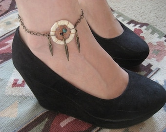 Dream Catcher Anklet- White Dreamcatcher Feather Charm Adjustable Chain Friendship Bracelet Jewelry Ankle Tattoo