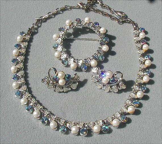 Vintage Coro Blue Aurora Rhinestone and Pearl Parure