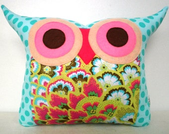 Sale 50% Aqua owl pillow /Polyfil Stuffed Soul Blossoms(Aqua) Amy Butler fabric Owl Pillow for baby and home decoration