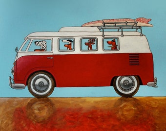 "155 Red Bus - print 27x27cm/10.5x10.5"""