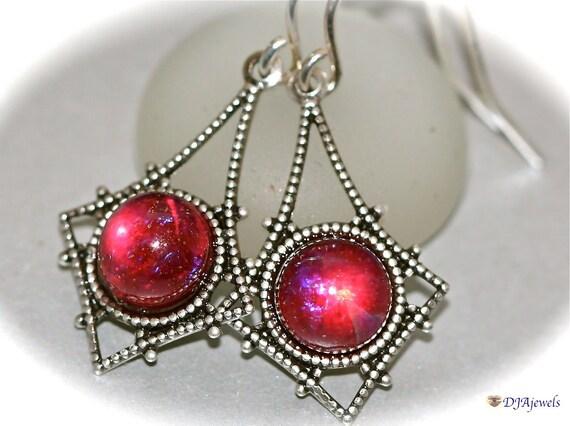 Fire Opal Earrings Dragons Breath Art Nouveau Jewelry