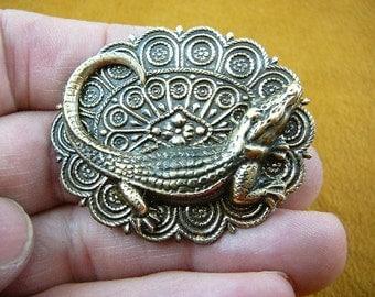 Alligator gator on scrolled Victorian brass brooch pin jewelry I love gators B-Gator-2