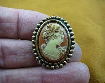 Lady woman wearing scarf looking down orange ivory CAMEO pin pendant brass oval brooch cs38-11