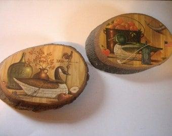 Vintage Tree Bark Plaques- Decoys set of 2