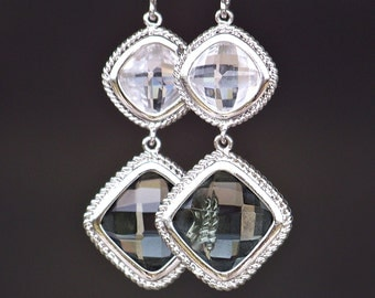 Faceted Diamond Shaped Crystal Dangle Earrings in Silver