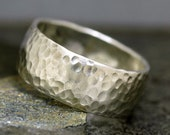 3/8 Inch Hammered Domed Sterling Silver Band- Custom