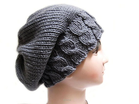 Knitting Pattern For Beanie : Knitting Hat Pattern Beanie Beret: Knit Pattern in PDF N21