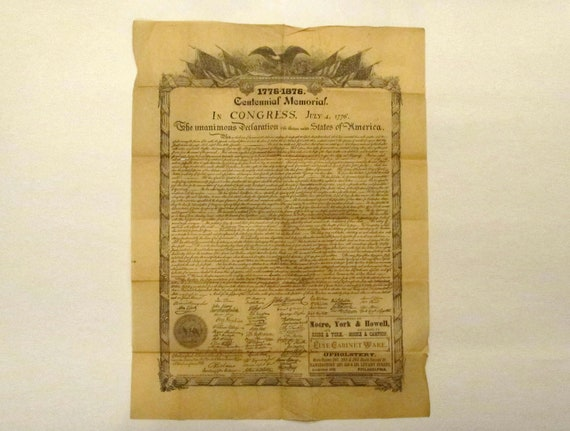Antique 1876 Centennial Copy, Declaration of Independence / Antique Historical Print