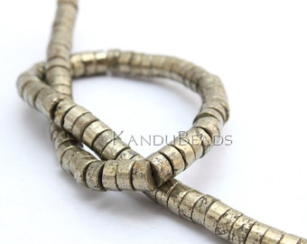 "Pyrite heishi Beads 4x6mm 15"" Strand wheel, tire shape, fools gold, golden brass color"