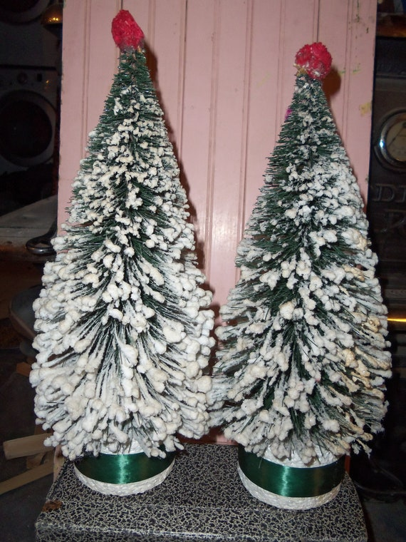 SALE - Vintage Large Snow Covered Bottle Brush Christmas Trees from Rustysecrets