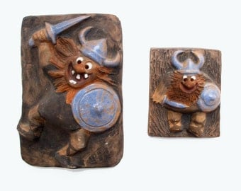 Viking Wall Tiles Denmark, Humorous Viking Wall Hanger, 3D Tile Vikings, 7 in. 4 in.